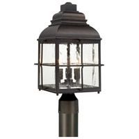Lanier 3 Light 18 inch Old Bronze Post Lantern