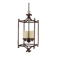 Capital Lighting Highlands 3 Light Chandelier in Weather Brown with Rust Scavo Glass 9224WB-261