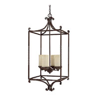 Capital Lighting Highlands 4 Light Chandelier in Weather Brown with Rust Scavo Glass 9225WB-261