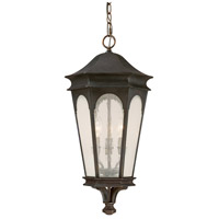 Capital Lighting Inman Park 3 Light Outdoor Hanging Lantern in Old Bronze with Seeded Glass 9386OB