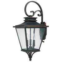 Capital Lighting Gentry 3 Light Outdoor Wall Lantern in Old Bronze with Antique Glass 9463OB