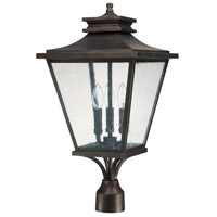 Capital Lighting Gentry 3 Light Outdoor Post Lantern in Old Bronze with Antique Glass 9466OB