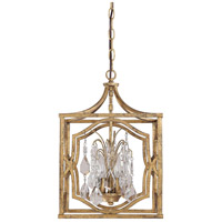 Capital Lighting Blakely 3 Light Foyer Pendant in Antique Gold with Crystals 9481AG-CR