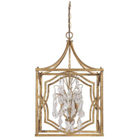 Capital Lighting Blakely 4 Light Foyer Pendant in Antique Gold with Crystals 9482AG-CR