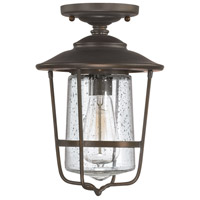 Creekside 1 Light 8 inch Old Bronze Outdoor Semi-Flush in Clear Seeded