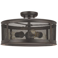 Dylan 3 Light 16 inch Old Bronze Outdoor Semi-Flush