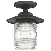 Capital Lighting Creekside 1 Light Outdoor Semi-Flush in Black with Clear Glass 9677BK