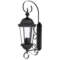 Capital Lighting Carraige House 3 Light Outdoor Wall Lantern in Black with Clear Glass 9723BK