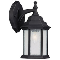 Capital Lighting Main Street 1 Light Outdoor Wall Lantern in Black with Seeded Glass 9832BK