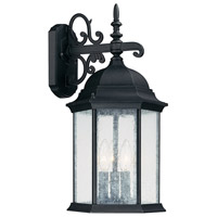 Capital Lighting Main Street 3 Light Outdoor Wall Lantern in Black with Seeded Glass 9834BK