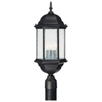 Capital Lighting Main Street 3 Light Outdoor Post Lantern in Black with Seeded Glass 9837BK