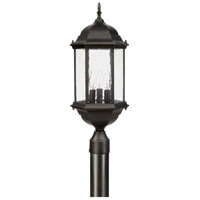 Main Street 3 Light 24 inch Old Bronze Post Lantern