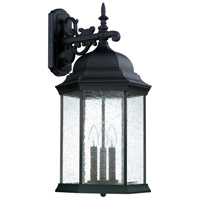 Capital Lighting Main Street 3 Light Outdoor Wall Lantern in Black with Antique Glass 9838BK