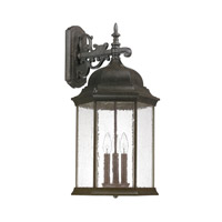 Capital Lighting Main Street 3 Light Outdoor Wall Lantern in New Tortoise with Antique Glass 9838NT