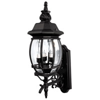 French Country 3 Light Black Outdoor Wall Lantern