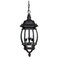 French Country 3 Light 8 inch Black Outdoor Hanging Lantern