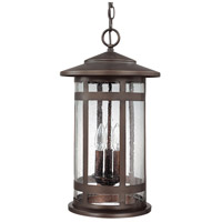 Capital Lighting Mission Hills 3 Light Outdoor Hanging Lantern in Burnished Bronze with Seeded Glass 9954BB
