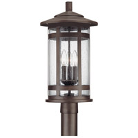 Capital Lighting Mission Hills 3 Light Outdoor Post Lantern in Burnished Bronze with Seeded Glass 9955BB