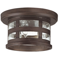 Capital Lighting Mission Hills 3 Light Outdoor Ceiling in Burnished Bronze with Seeded Glass 9956BB