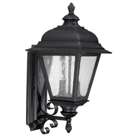 Capital Lighting Brookwood 2 Light Outdoor Wall Lantern in Black with Seeded Glass 9962BK
