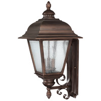 Capital Lighting Brookwood 3 Light Outdoor Wall Lantern in Burnished Bronze with Seeded Glass 9963BB