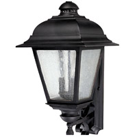 Capital Lighting Brookwood 3 Light Outdoor Wall Lantern in Black with Seeded Glass 9963BK