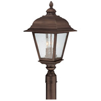 Capital Lighting Brookwood 3 Light Outdoor Post Lantern in Burnished Bronze with Seeded Glass 9967BB