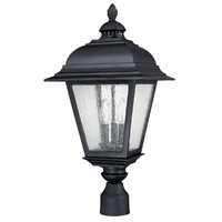 Capital Lighting Brookwood 3 Light Outdoor Post Lantern in Black with Seeded Glass 9967BK photo thumbnail