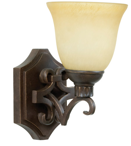 Aged Bronze Wall Sconces : Jeremiah by Craftmade Florence 1 Light Wall Sconce in Aged Bronze 10906AG1