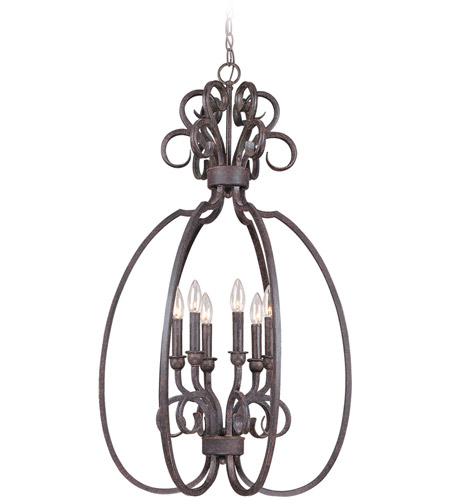 Craftmade 22036-FM Sheridan 6 Light 21 inch Forged Metal Foyer Light Ceiling Light, Cage photo