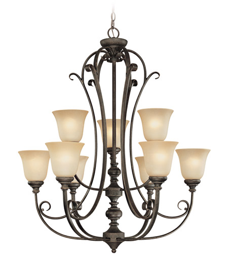 Craftmade 24229-MB Barrett Place 9 Light 33 inch Mocha Bronze Chandelier Ceiling Light in Light Umber Etched photo