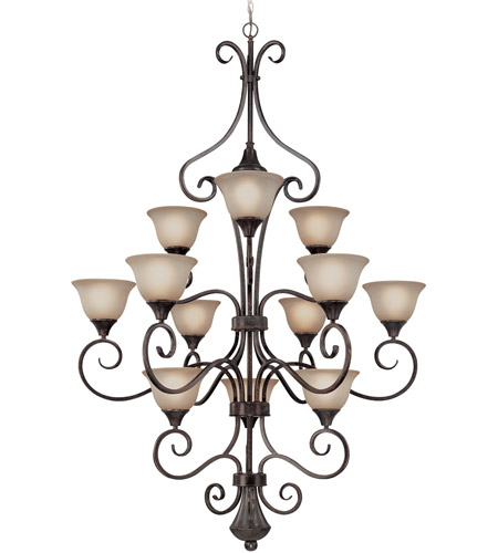 Craftmade 24912-BA Torrey 12 Light 42 inch Burnished Armor Chandelier Ceiling Light in Light Umber Etched photo
