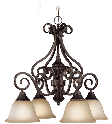 Craftmade 24924-BA Torrey 4 Light 25 inch Burnished Armor Down Chandelier Ceiling Light in Light Umber Etched photo