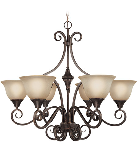 Craftmade 24926-BA Torrey 6 Light 32 inch Burnished Armor Chandelier Ceiling Light in Light Umber Etched photo