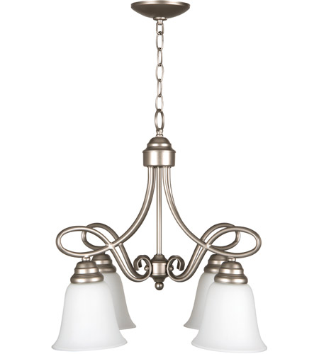 Craftmade 25024-SN-WG Cordova 4 Light 21 inch Satin Nickel Down Chandelier Ceiling Light in White Frosted Glass, Jeremiah photo