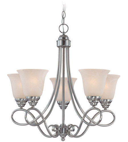 Craftmade 25025-SN Cordova 5 Light 24 inch Satin Nickel Chandelier Ceiling Light in Faux Alabaster Glass photo