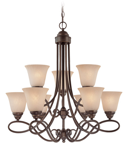 Craftmade 25029-OLB Cordova 9 Light 29 inch Old Bronze Chandelier Ceiling Light in Painted Alabaster photo