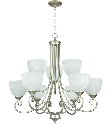 Craftmade 25329-SN Raleigh 9 Light 31 inch Satin Nickel Chandelier Ceiling Light in Faux Alabaster Glass photo