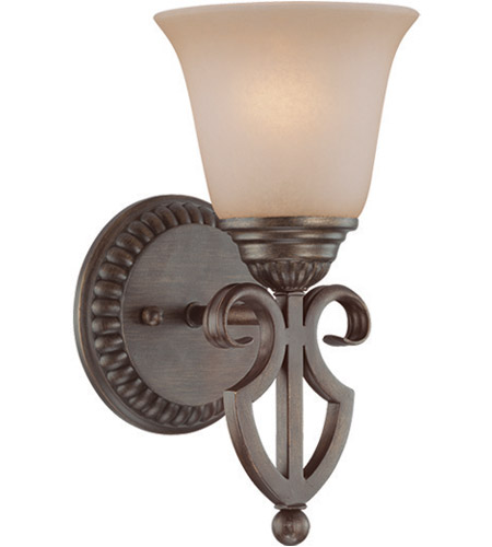 Craftmade 26001 CB Gatewick 1 Light 6 Inch Century Bronze Wall Sconce Wall  Light In Light Tea Stained Glass