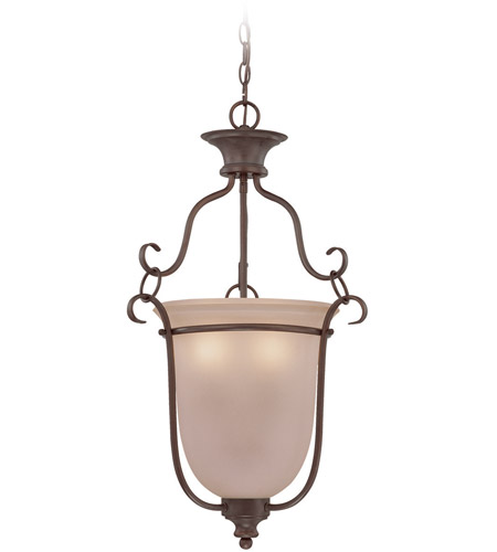 Craftmade 26343-OB Linden Lane 3 Light 18 inch Old Bronze Foyer Light Ceiling Light in Light Tea-Stained Glass photo