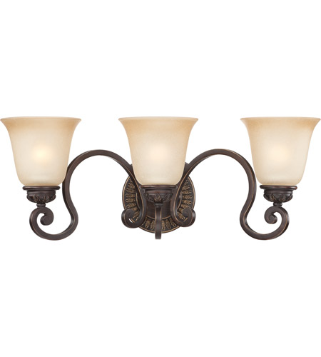 Craftmade 28203-ABZG Josephine 3 Light 24 inch Antique Bronze and Gold Accents Vanity Light Wall Light in Salted Caramel photo