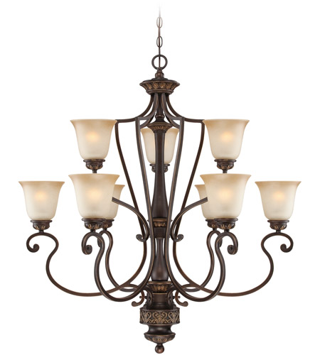 Craftmade 28229-ABZG Josephine 9 Light 37 inch Antique Bronze and Gold Accents Chandelier Ceiling Light photo