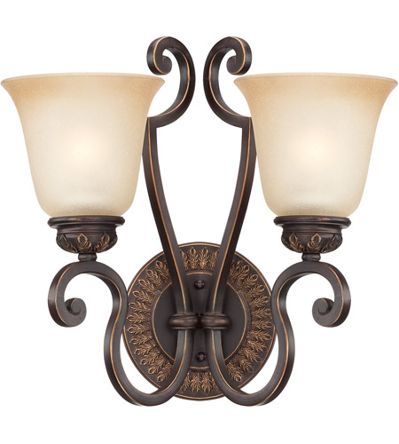 Craftmade 28262-ABZG Josephine 2 Light 15 inch Antique Bronze and Gold Accents Wall Sconce Wall Light in Salted Caramel photo