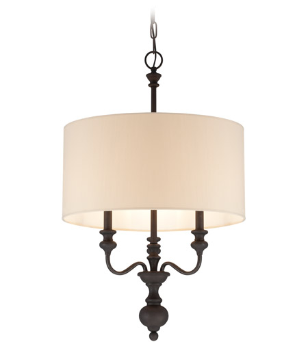 Craftmade 28533-GB Willow Park 3 Light 19 inch Gothic Bronze Foyer Light Ceiling Light in Golden Bronze, Beige Fabric photo