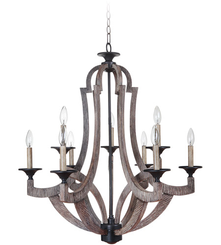 Craftmade 35129 Wp Winton 9 Light 30 Inch Weathered Pine And Bronze Chandelier Ceiling
