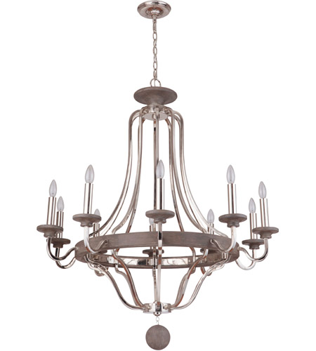Craftmade 36510-PLNGRW Ashwood 10 Light 39 inch Polished Nickel and Greywood Chandelier Ceiling Light photo