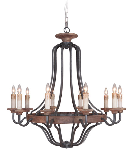 Craftmade 36510-TBWB Ashwood 10 Light 39 inch Textured Black and Whiskey Barrel Chandelier Ceiling Light photo