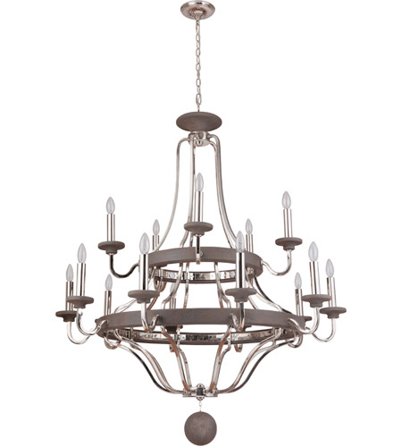 Craftmade 36515-PLNGRW Ashwood 15 Light 44 inch Polished Nickel and Greywood Chandelier Ceiling Light photo