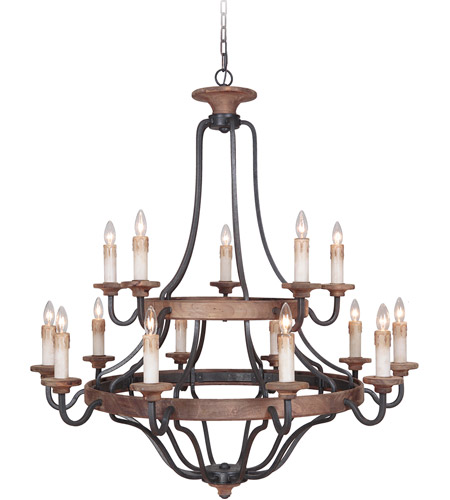 Craftmade 36515-TBWB Ashwood 15 Light 44 inch Textured Black and Whiskey Barrel Chandelier Ceiling Light photo