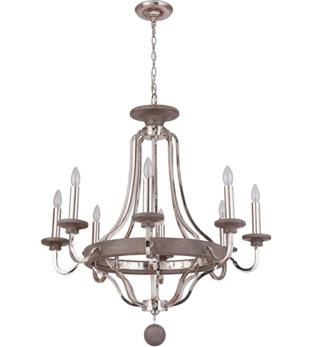 Craftmade 36528-PLNGRW Ashwood 8 Light 33 inch Polished Nickel and Greywood Chandelier Ceiling Light photo
